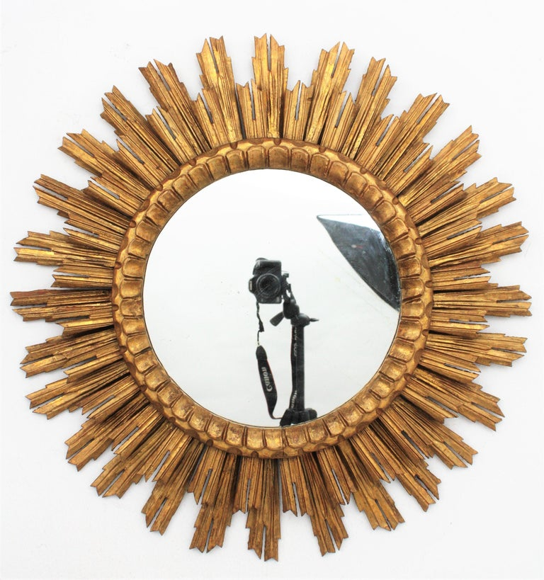 Gesso Large Giltwood Sunburst Mirror, Spain, 1920s For Sale