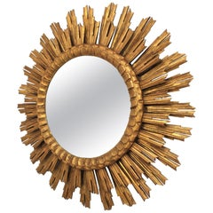 Large Giltwood Sunburst Mirror, Spain, 1920s