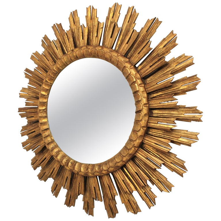 Large Giltwood Sunburst Mirror, Spain, 1920s For Sale