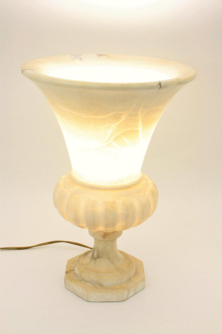 Carved Large Spanish 1930s Neoclassical Art Deco Alabaster Urn Table Lamp For Sale