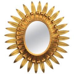 Large Spanish 1960s Double Layer Eyelash Bicolor Gilt Iron Oval Sunburst Mirror