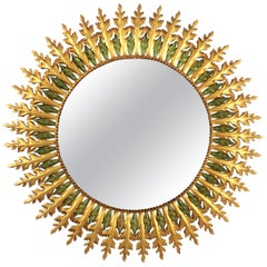 Large Spanish 1960s Hollywood Regency Gold Gilt Iron and Green Sunburst Mirror