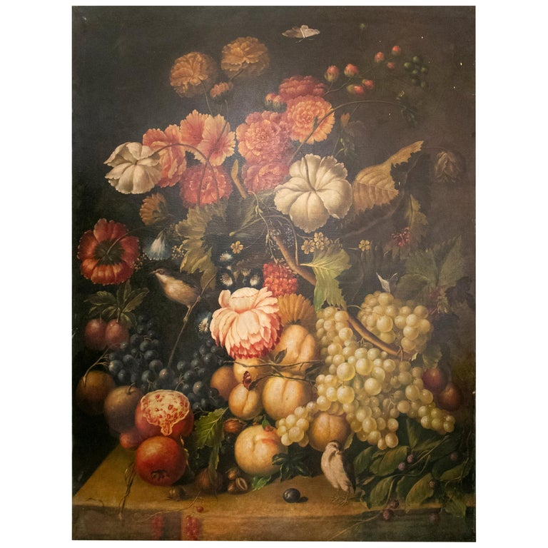 "Large Spanish ""Bodegon"" Still Live Oil on Canvas Painting with Flowers & Fruits For Sale"