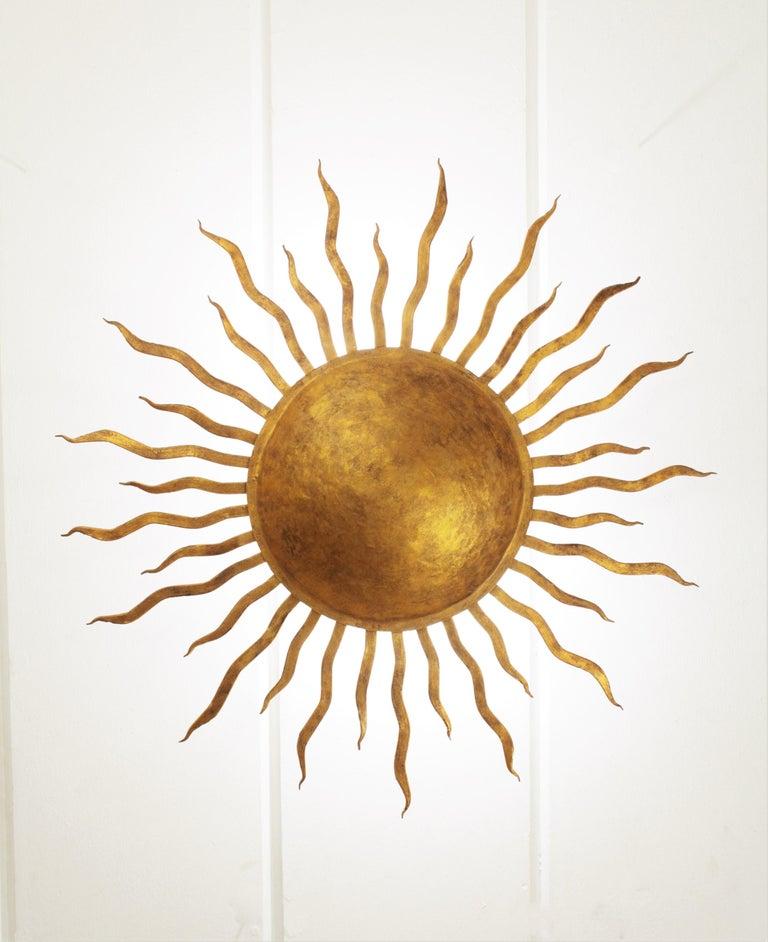 Large Spanish Brutalist Hand-Hammered Gilt Iron Sunburst Ceiling Light Fixture For Sale 7