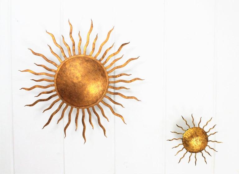20th Century Large Spanish Brutalist Hand-Hammered Gilt Iron Sunburst Ceiling Light Fixture For Sale