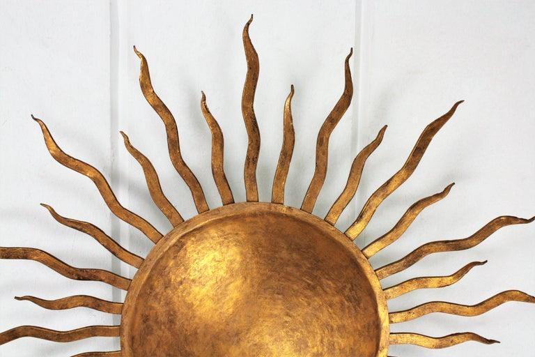 Large Spanish Brutalist Hand-Hammered Gilt Iron Sunburst Ceiling Light Fixture For Sale 2