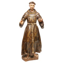 Large Spanish Colonial Carved and Painted St Francis Statue, 18th Century