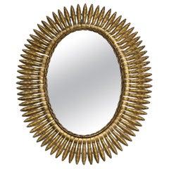 Large Spanish Gilt Metal Sunburst Mirror with Radiating Frame