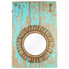 Large Spanish Giltwood and Turquoise Baroque Sunburst Mirror Wall Decoration