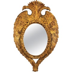 Hollywood Regency Giltwood Mirror with Double Headed Bird Frame, Spain 1950s