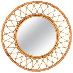 Large Spanish Mid-20th Century Bamboo and Wicker Circular Mirror