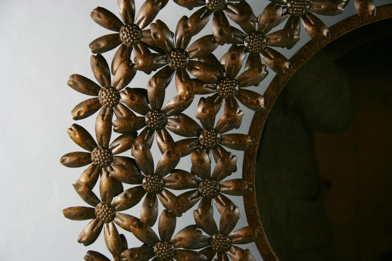 Large Spanish Mid Century Metal Flower Beveled Glass Mirror/Wall Sculpture For Sale 5