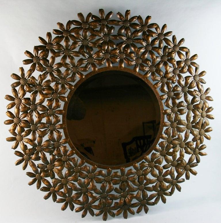 3-785 large beveled glass flower mirror/wall sculpture.