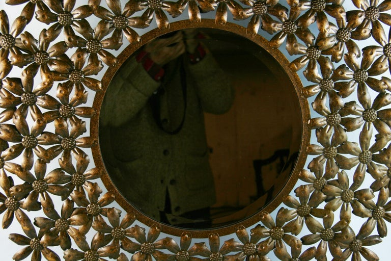 European Large Spanish Mid Century Metal Flower Beveled Glass Mirror/Wall Sculpture For Sale