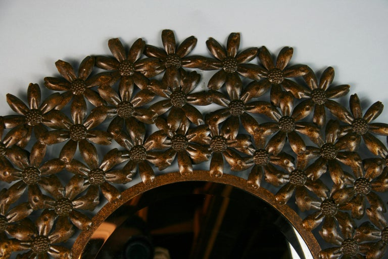 Large Spanish Mid Century Metal Flower Beveled Glass Mirror/Wall Sculpture In Good Condition For Sale In Douglas Manor, NY