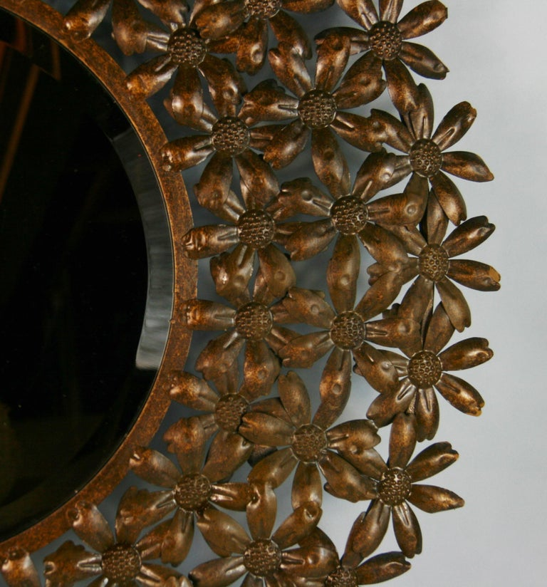 Late 20th Century Large Spanish Mid Century Metal Flower Beveled Glass Mirror/Wall Sculpture For Sale