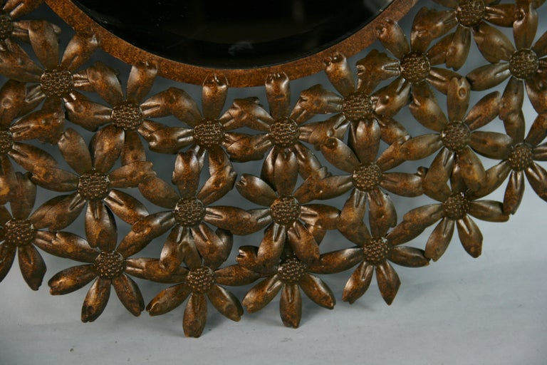Large Spanish Mid Century Metal Flower Beveled Glass Mirror/Wall Sculpture For Sale 1