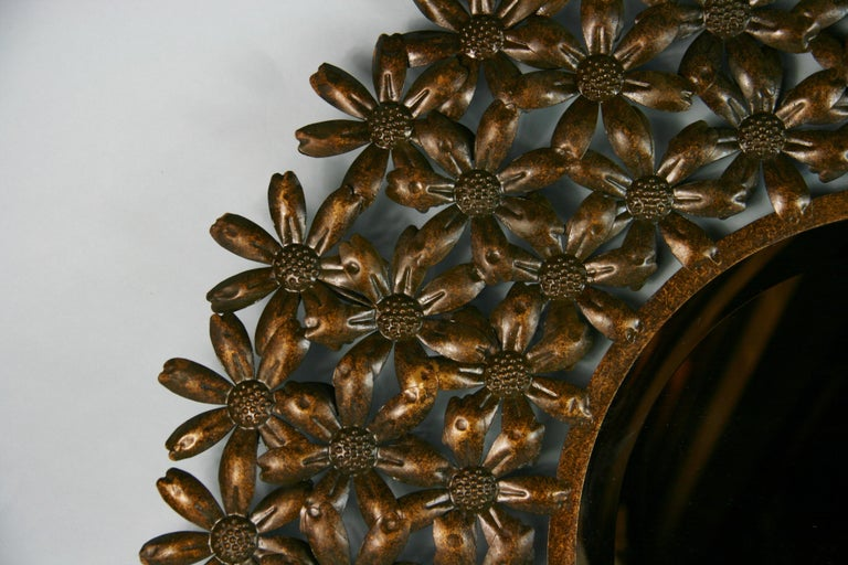 Large Spanish Mid Century Metal Flower Beveled Glass Mirror/Wall Sculpture For Sale 2