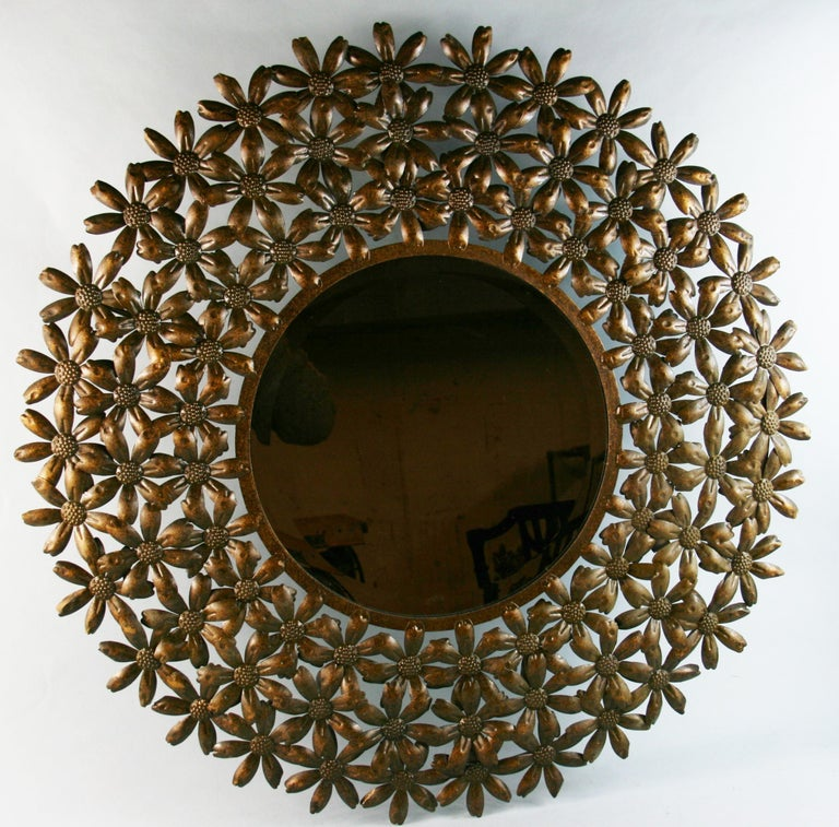 Large Spanish Mid Century Metal Flower Beveled Glass Mirror/Wall Sculpture For Sale 3