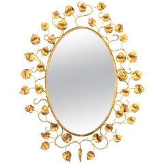 Large Spanish Midcentury Modern Hand-Hammered Gilt Iron Foliate Oval Mirror