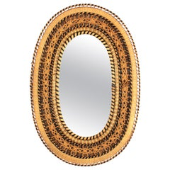 Large Spanish Mid-Century Modern Handcrafted Woven Wicker and Rattan Oval Mirror