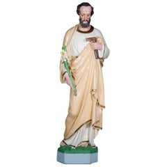 Large Spanish Polychrome and Gilt Hollow Cast Plaster Saint Joseph Sculpture