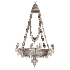 Large Spanish Solid Silver Chandelier Decorated in Baroque Manner