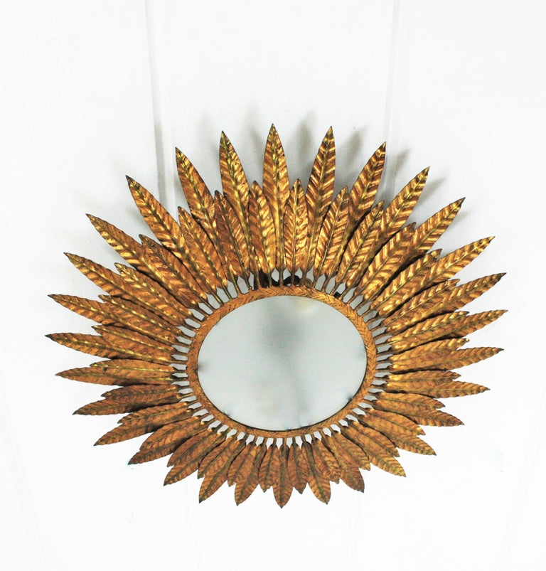 Large Spanish Sunburst Leafed Light Fixture in Gilt Metal with Frosted Glass For Sale 5