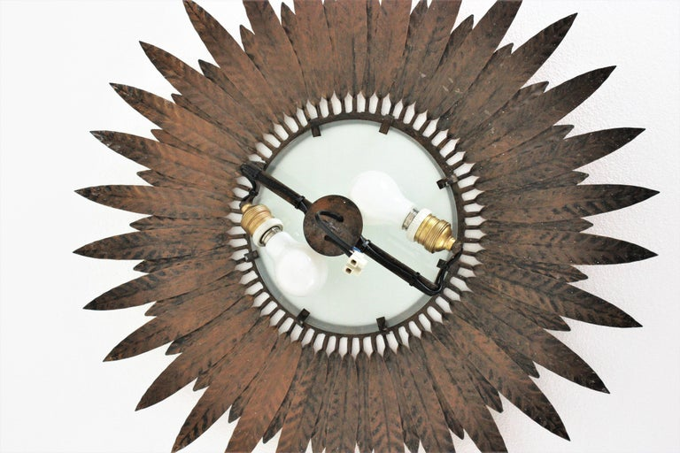 Large Spanish Sunburst Leafed Light Fixture in Gilt Metal with Frosted Glass For Sale 11