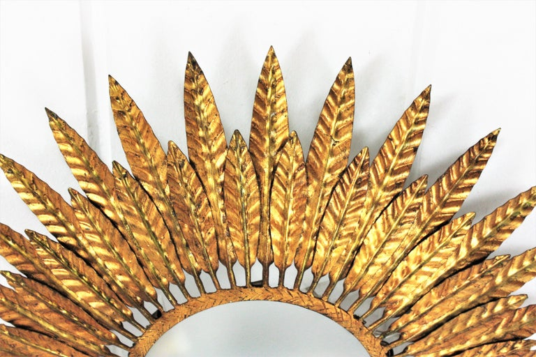 Large Spanish Sunburst Leafed Light Fixture in Gilt Metal with Frosted Glass For Sale 1