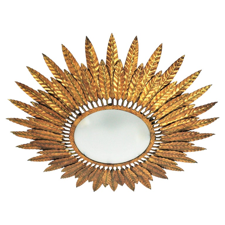 Large Spanish Sunburst Leafed Light Fixture in Gilt Metal with Frosted Glass For Sale