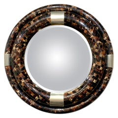 Large Springer Style Polished Horn and & Chrome Round Mirror, C. 1970
