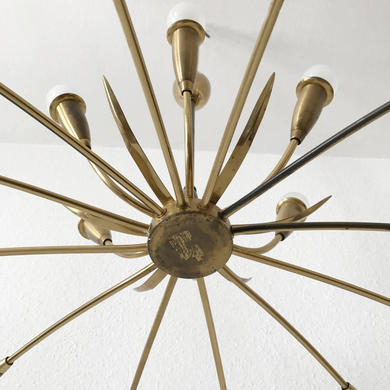 Large Sputnik Brass Chandelier with 18 Arms, 1950s For Sale 4