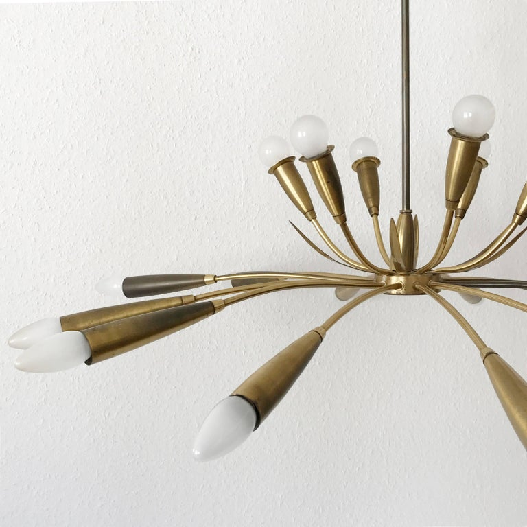 Large Sputnik Brass Chandelier with 18 Arms, 1950s For Sale 1