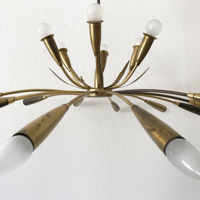 Large Sputnik Brass Chandelier with 18 Arms, 1950s For Sale 2