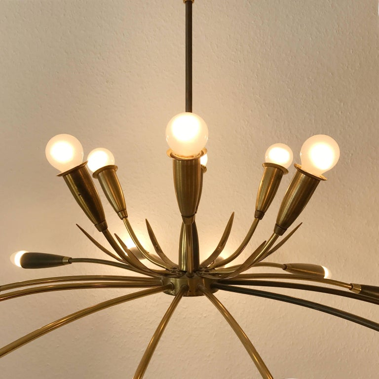Large Sputnik Brass Chandelier with 18 Arms, 1950s For Sale 3