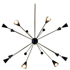 Large Sputnik Ceiling Light, Brass and Metal, 1960s