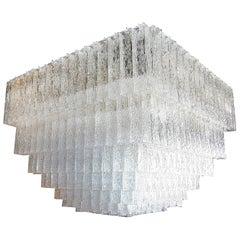 Large Square 1960s Murano Glass Vistosi Chandelier