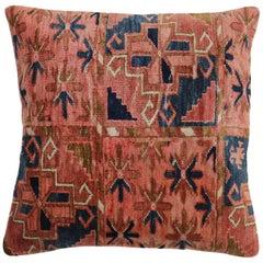 Large Square Antique Turkeman Rug Pillow