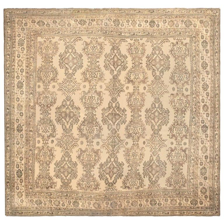Large Square Antique Turkish Oushak Carpet. Size: 17 ft 7 in x 18 ft 7 in