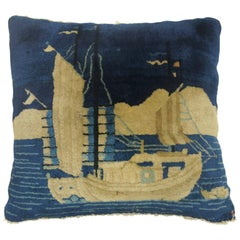 Large Square Blue Chinese Pictorial Sailboat Rug Pillow