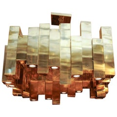 Large Square Brass Chandelier by Glustin Luminaires