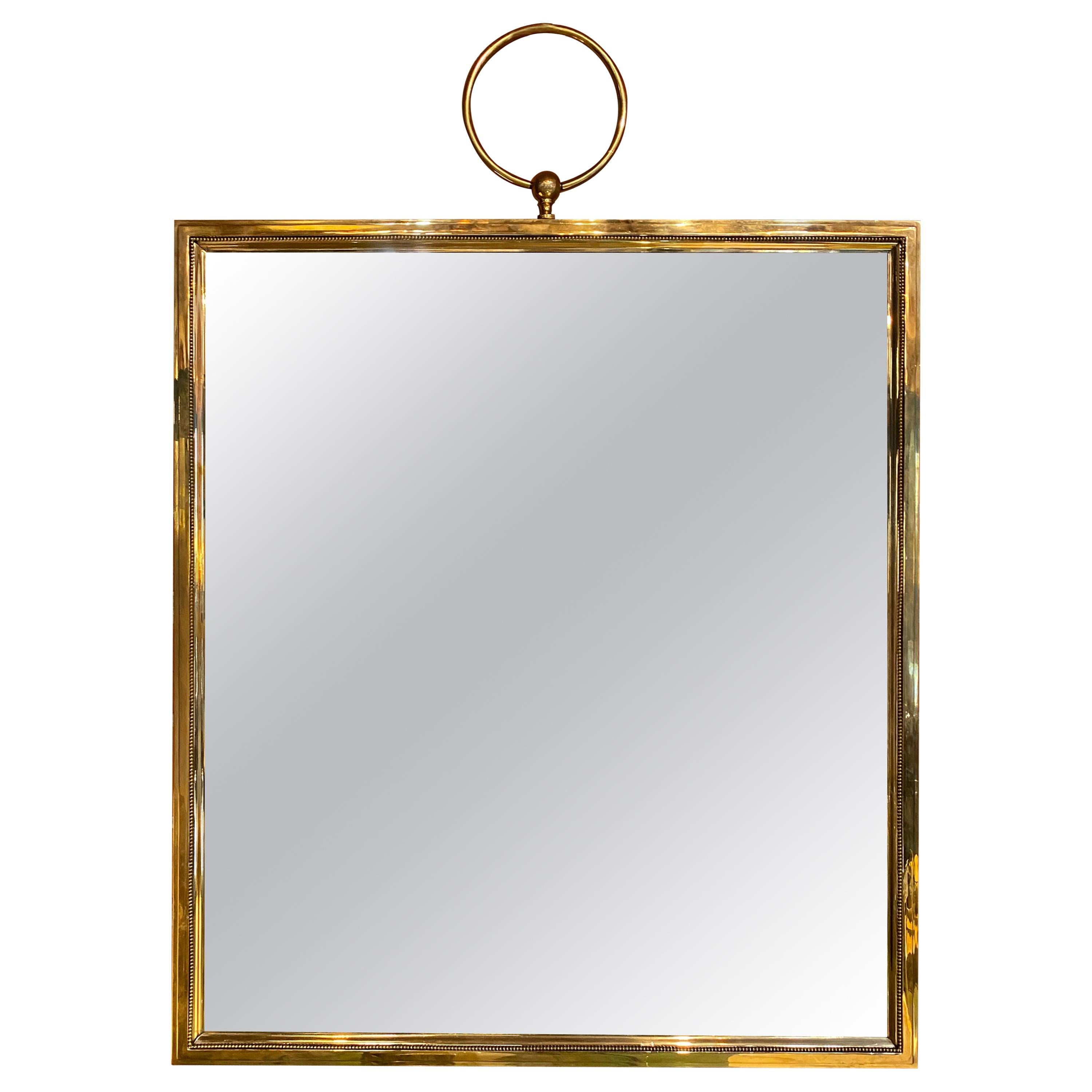 Large Square Brass Wall Mirror, Italy, 1960s