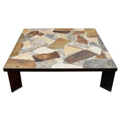 Large Square Brutalist Slate Stone Coffee Table, Netherlands, 1970s