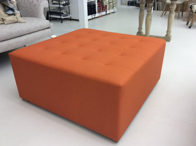Contemporary Large Square Button Tufted Ottoman, Custom For Sale