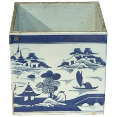 Large Square Canton Chinese Export Porcelain Cachepot