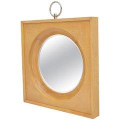 Large Square Cerused Oak Frame Round Wall Mirror