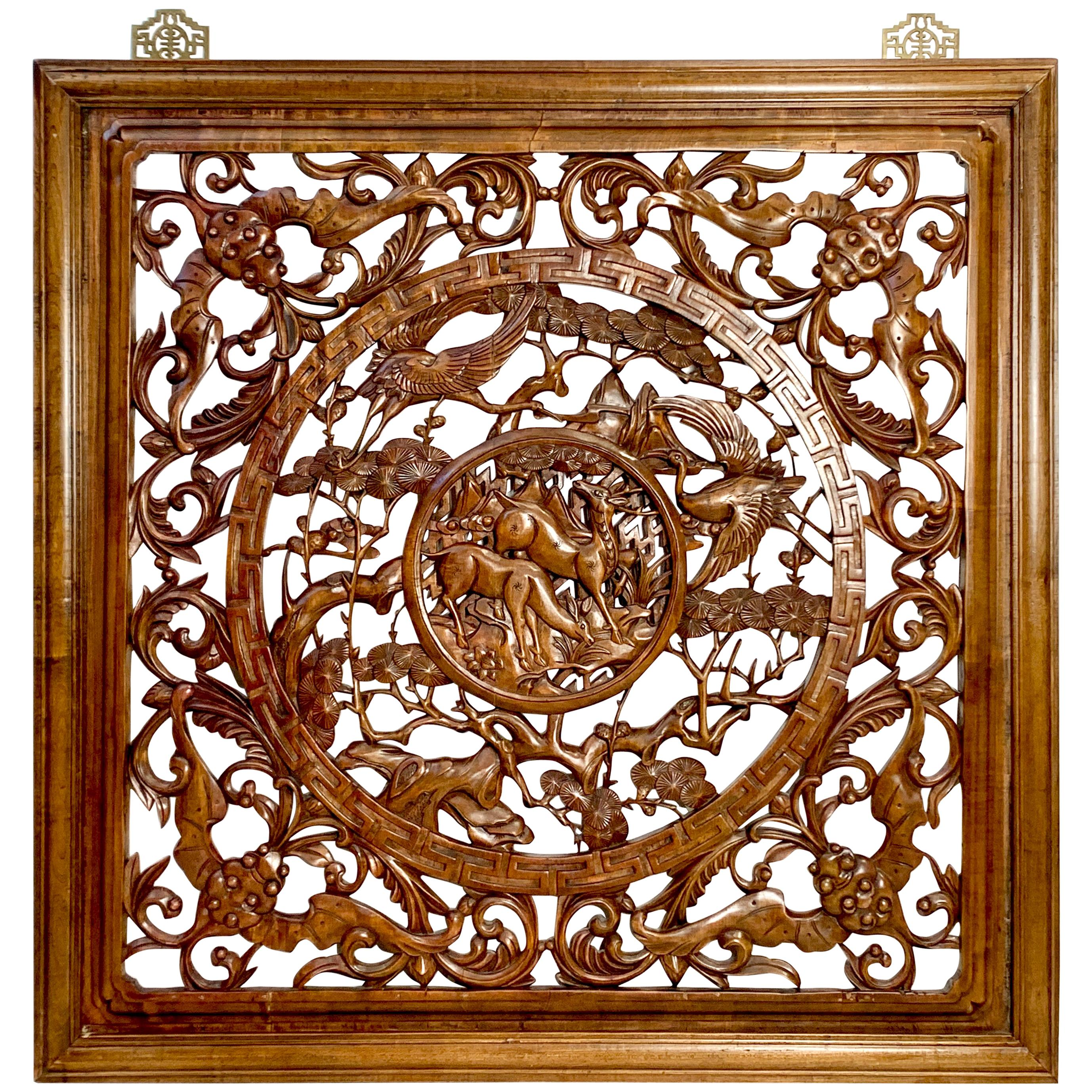 """Large Square Chinese Carved Camphor Wood """"Longevity"""" Screen Panel"""
