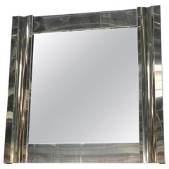 Large Square Chrome Wall Mirror, Italy, 1970s