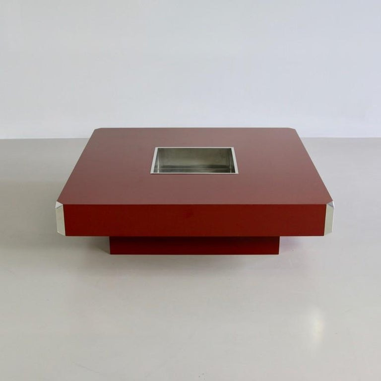 Italian Large Square Coffee Table by Willy Rizzo, 1972 For Sale